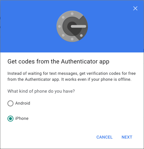 Google Authenticator | Phone Type