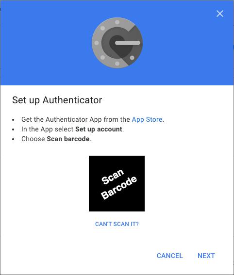 Google Authenticator | Scan Barcode